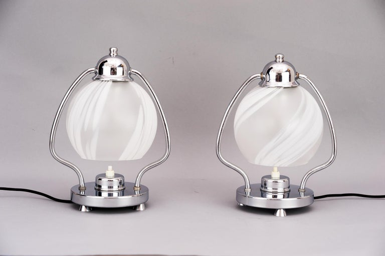 Austrian Two Art Deco Chrome Table Lamps 1920s with Original Glass Shades For Sale