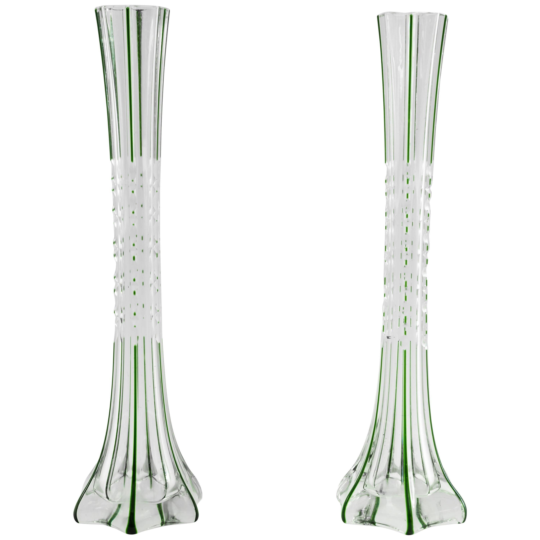 Two Art Deco Glass Vases, Vienna, circa 1920s