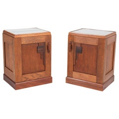 Two Art Deco Haagse School Nightstands or Bedside Tables, 1920s