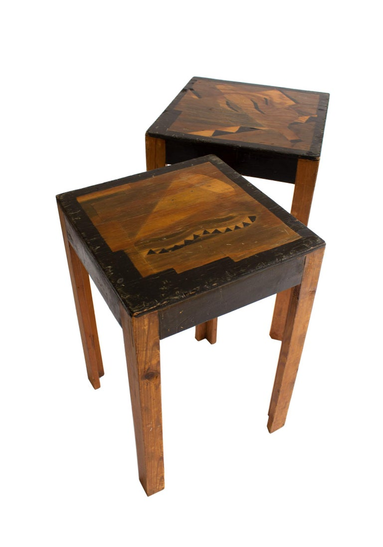 Two charming, Art Deco, nesting tables made of unknown Swedish artist in 1930s-1940s. The layout and design of the table top is inspired by the genre of abstract art and are bound to look great in a home combined with multiple curiosity things.