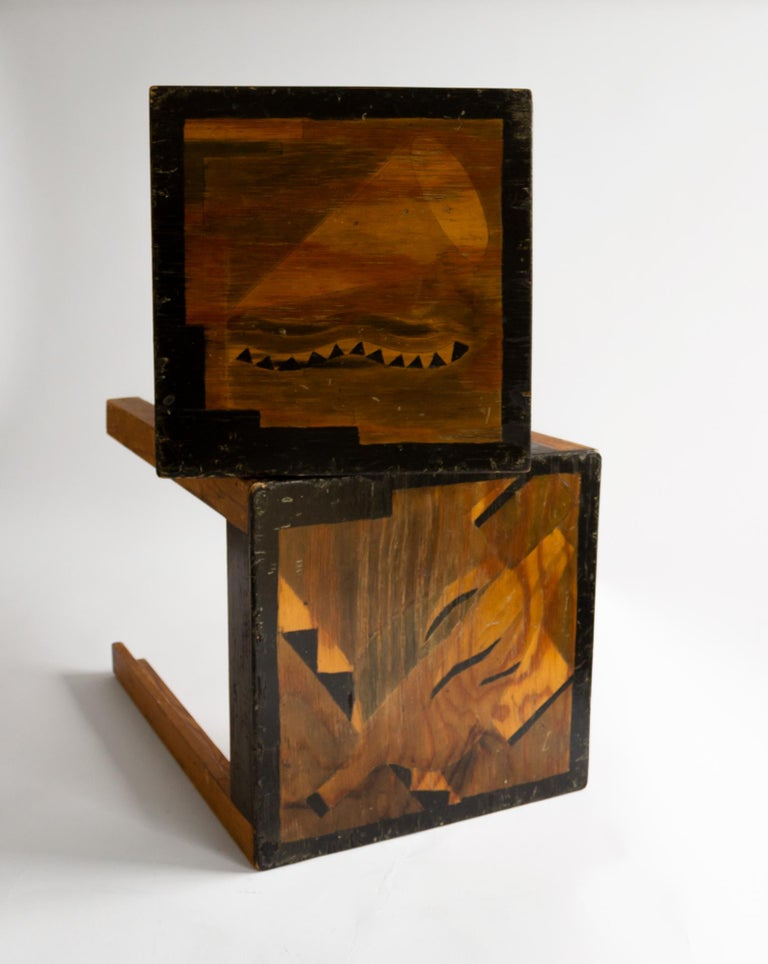 Two Art Deco Nesting Tables Made of Unknown Swedish Artist in 1930s-1940s In Fair Condition For Sale In Stockholm, SE