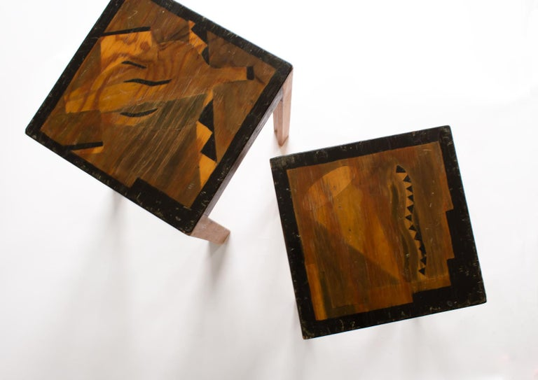 Mid-20th Century Two Art Deco Nesting Tables Made of Unknown Swedish Artist in 1930s-1940s For Sale