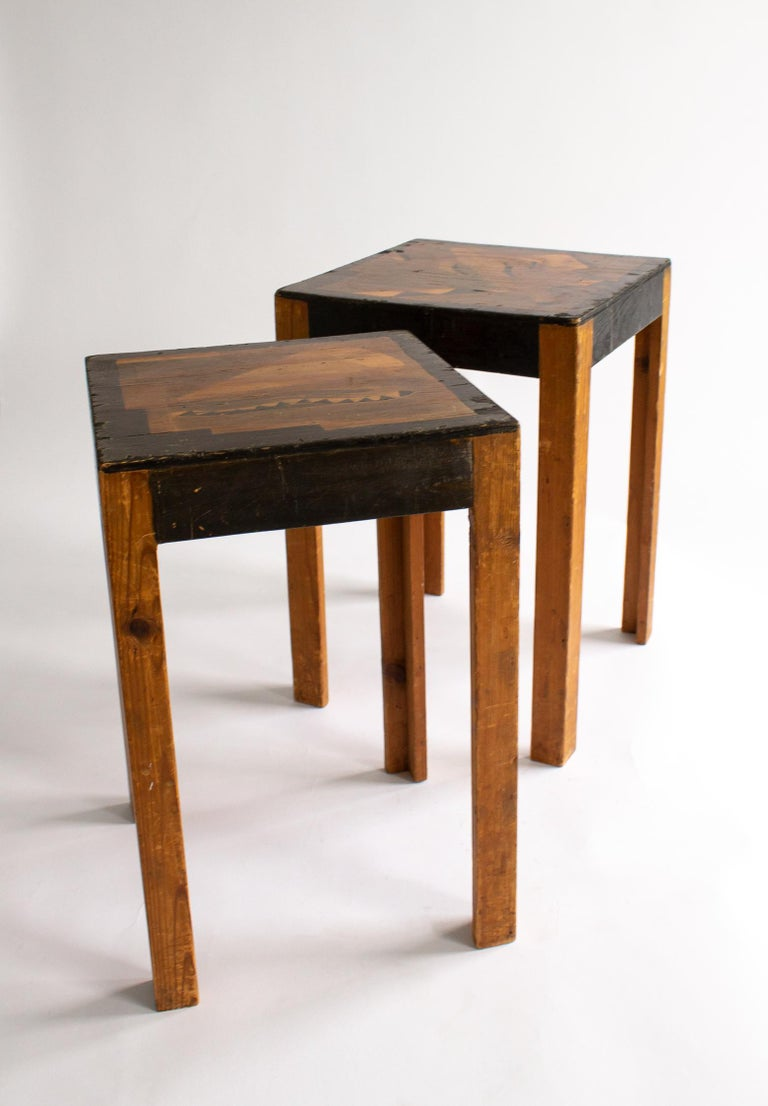Fir Two Art Deco Nesting Tables Made of Unknown Swedish Artist in 1930s-1940s For Sale
