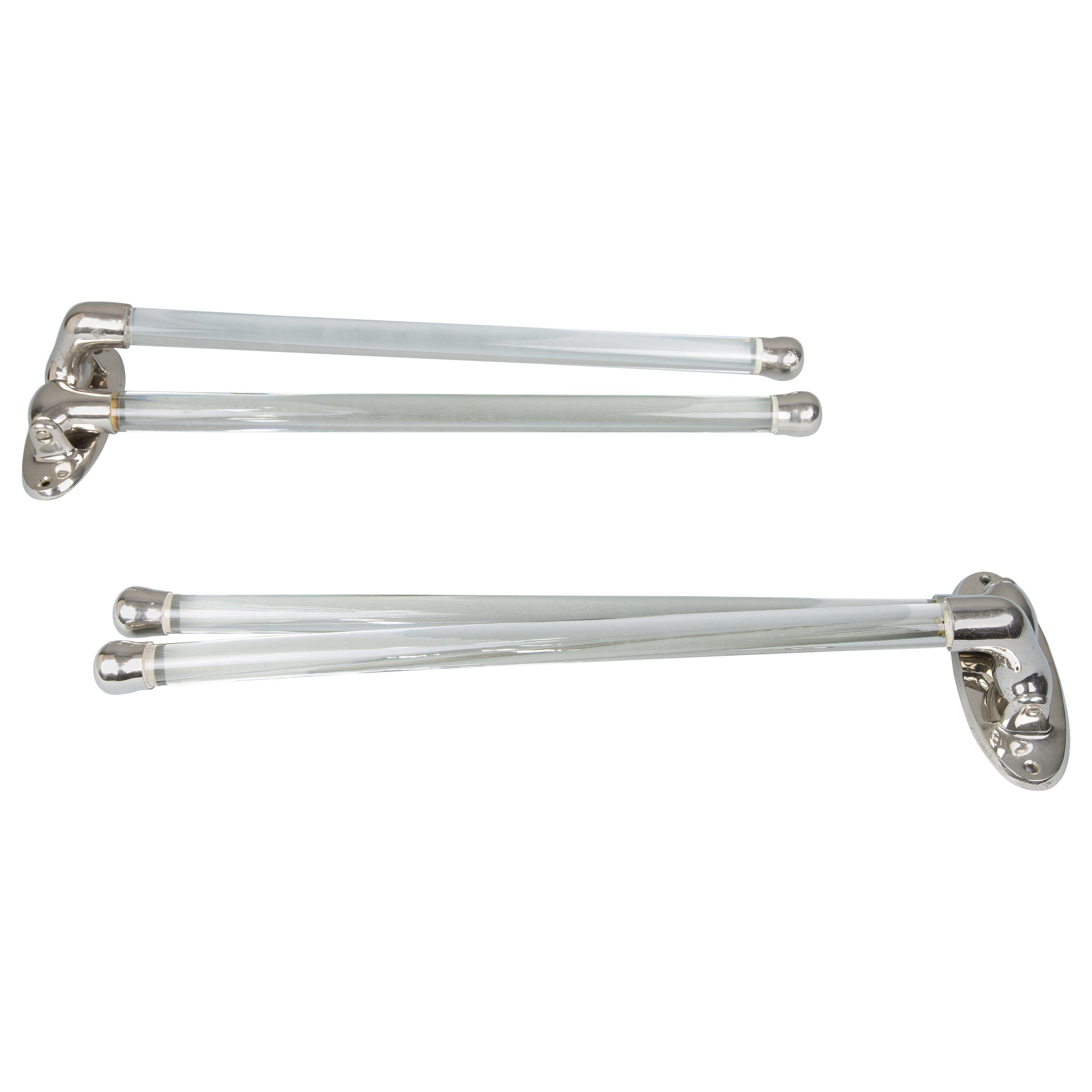 Two Art Deco Nickel-Plated Towel Holder, circa 1920s