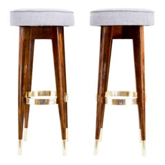 Two Art Deco Stools Vienna 1920s in Nutwood Execution