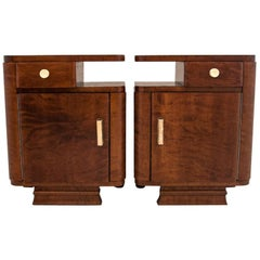 Two Art Deco Walnut Nightstands After Renovation, circa 1940