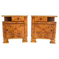 Two Art Deco Walnut Nightstands After Renovation, circa 1950