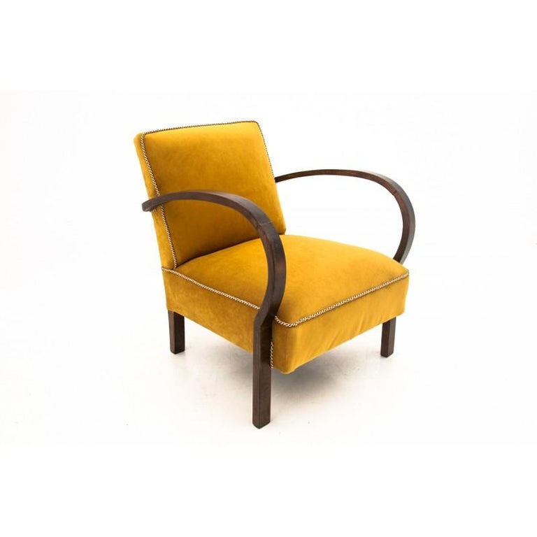 Two Art Deco Yellow Armchairs For Sale at 1stdibs