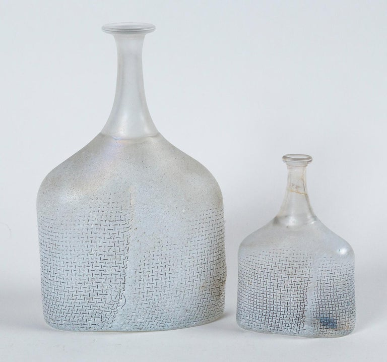 Two art glass vases, Bertil Valien, Kosta Boda, Sweden, circa 1970. Frosted hand-blown glass, Network series. Signed on bottom. Bertil Valien (b.1938) is a renown Swedish glass artist and designer represented in many museums and galleries.
