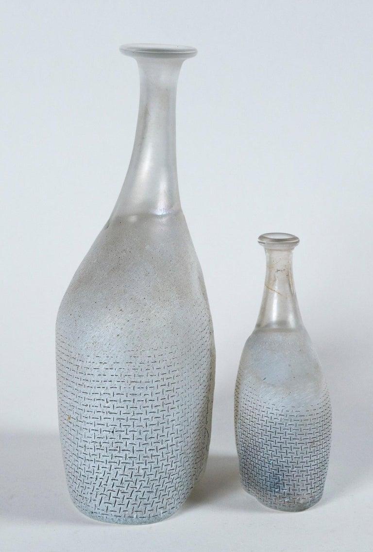Frosted Two Art Glass Vases, Bertil Valien, Kosta Boda, Sweden, circa 1970 For Sale