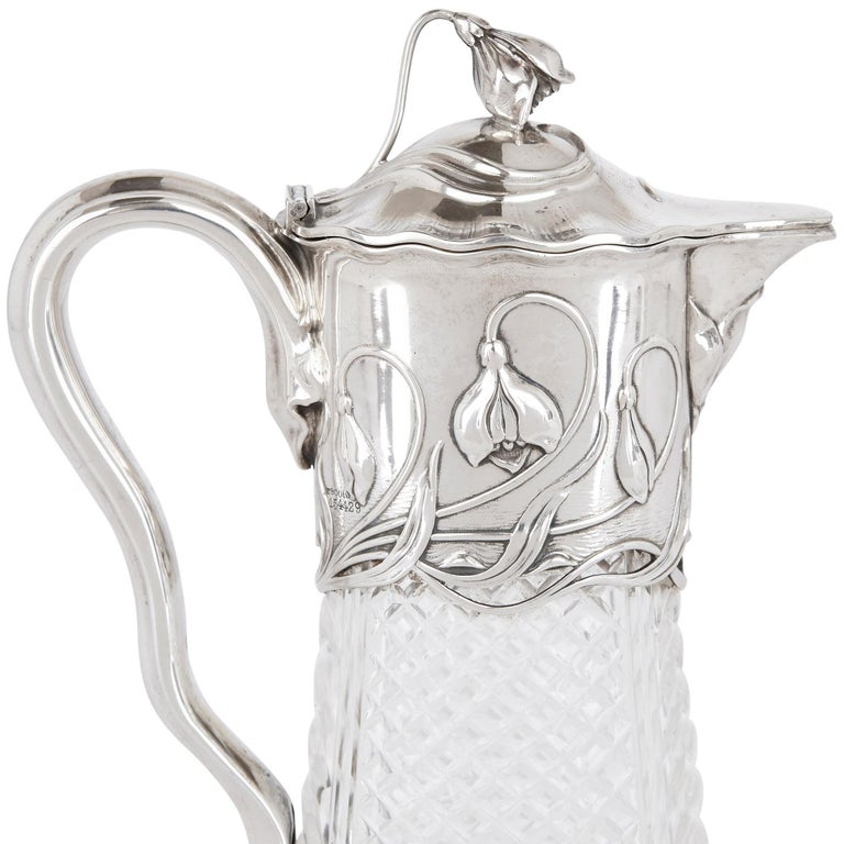 German Two Art Nouveau Silver and Cut Glass Claret Jugs by Wilhelm Binder For Sale