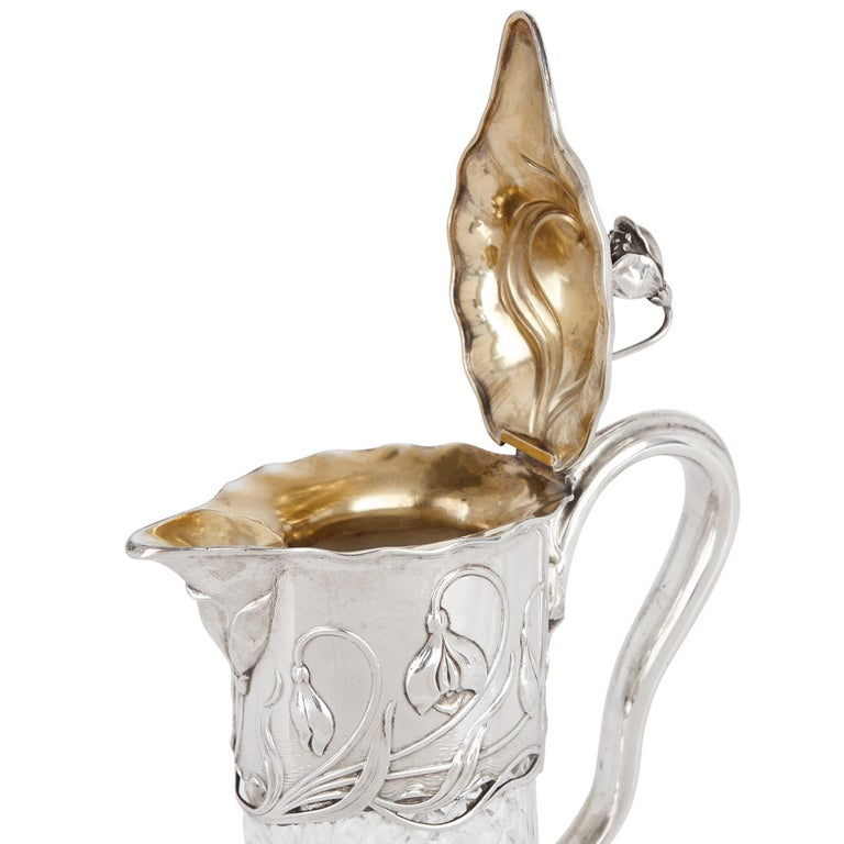 Two Art Nouveau Silver and Cut Glass Claret Jugs by Wilhelm Binder In Good Condition For Sale In London, GB