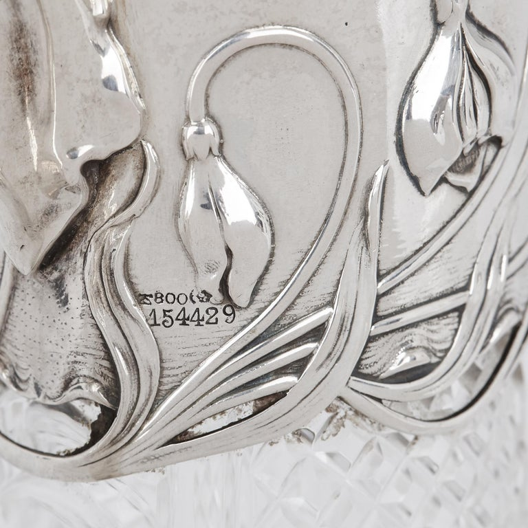 Two Art Nouveau Silver and Cut Glass Claret Jugs by Wilhelm Binder For Sale 2