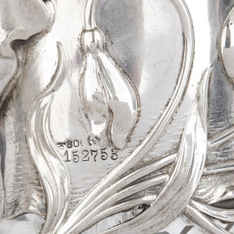 Two Art Nouveau Silver and Cut Glass Claret Jugs by Wilhelm Binder For Sale 3