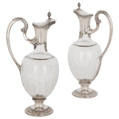 Two Art Nouveau Silver and Glass Wine Jugs by Devaux