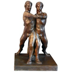 """Two Athletes in Unity,"" Unique 1930s Italian Art Deco Sculpture with Male Nudes"