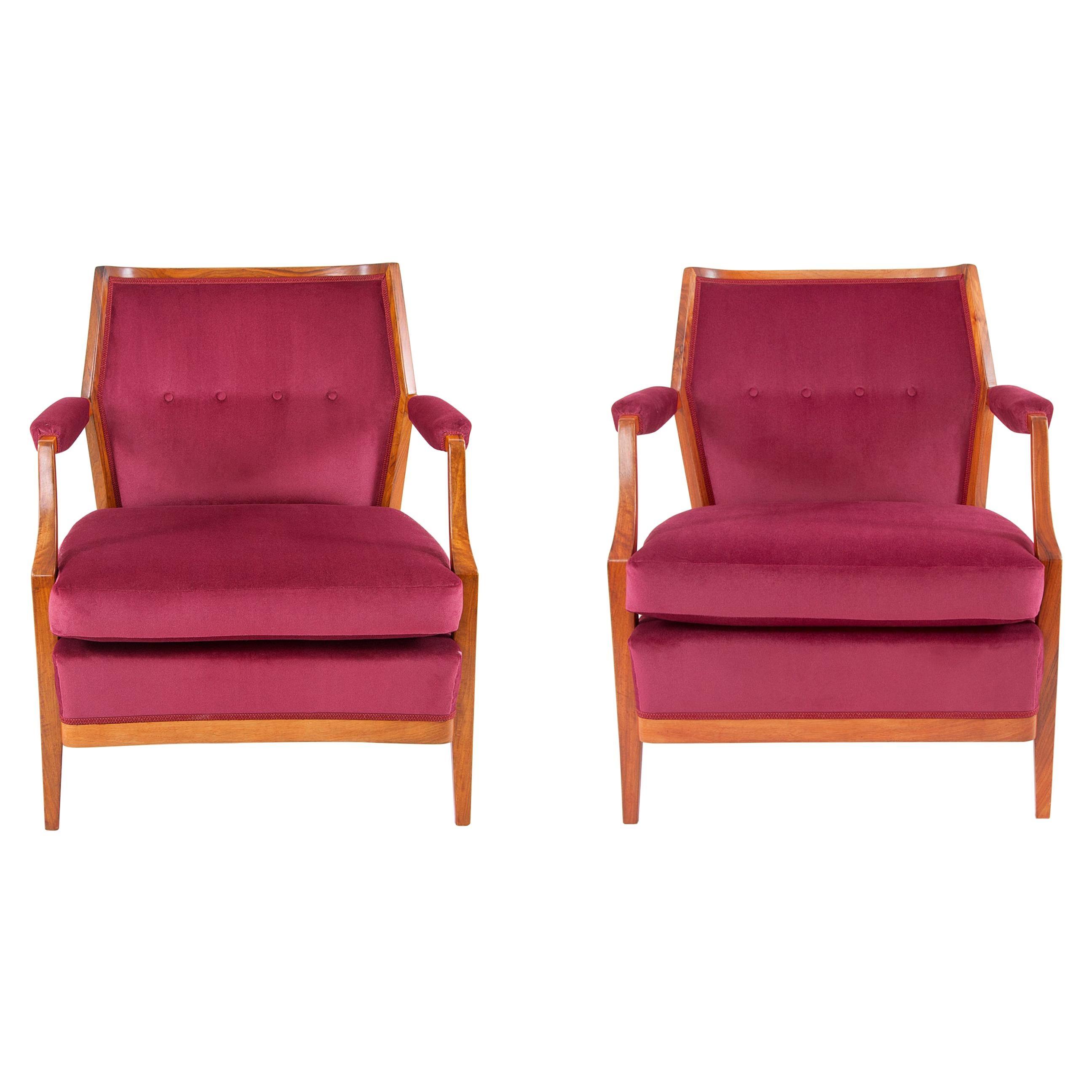 One Austrian Midcentury Walnut Embassy Club Chairs, Velvet Upholstery, 1950s