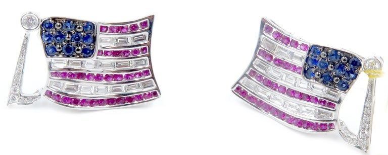 Two Baguette and Black Diamond Sapphire and Ruby American Flag Cufflinks 1