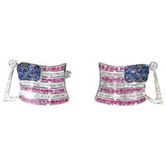 Two Baguette and Black Diamond Sapphire and Ruby American Flag Cuff Links