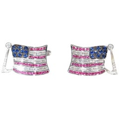 Two Baguette and Black Diamond Sapphire and Ruby American Flag Cufflinks