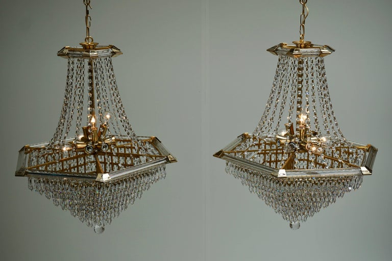 Two Bakalowits Chandeliers, Crystal Glass and Gilt Brass, Austria, 1960s For Sale 3