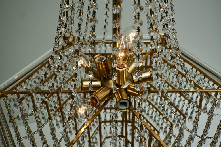 Two Bakalowits Chandeliers, Crystal Glass and Gilt Brass, Austria, 1960s For Sale 5