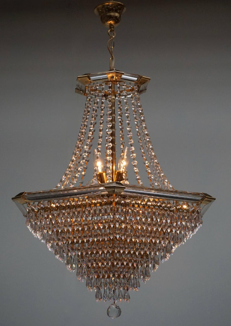 Austrian Two Bakalowits Chandeliers, Crystal Glass and Gilt Brass, Austria, 1960s For Sale