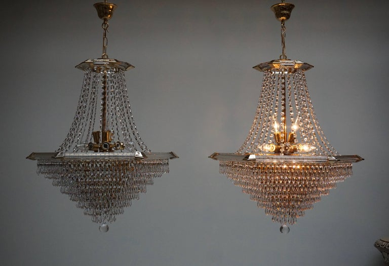 Two Bakalowits Chandeliers, Crystal Glass and Gilt Brass, Austria, 1960s In Good Condition For Sale In Antwerp, BE