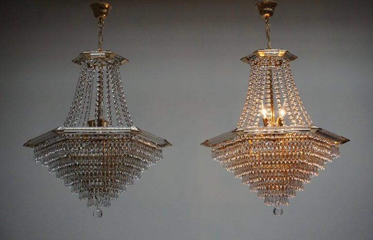 20th Century Two Bakalowits Chandeliers, Crystal Glass and Gilt Brass, Austria, 1960s For Sale