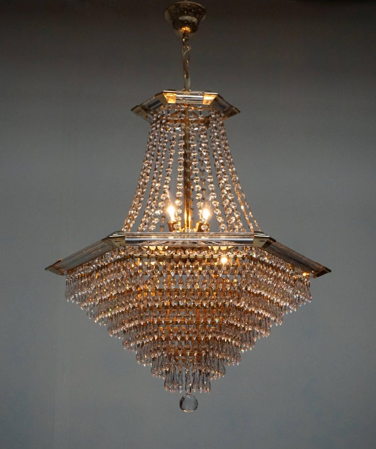 Gold Plate Two Bakalowits Chandeliers, Crystal Glass and Gilt Brass, Austria, 1960s For Sale