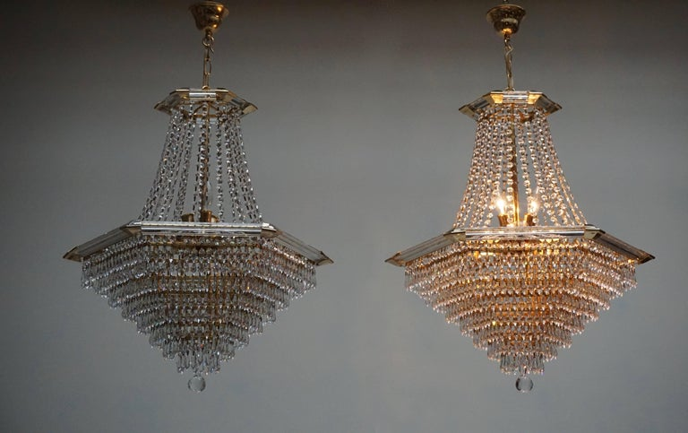 Two Bakalowits Chandeliers, Crystal Glass and Gilt Brass, Austria, 1960s For Sale 1