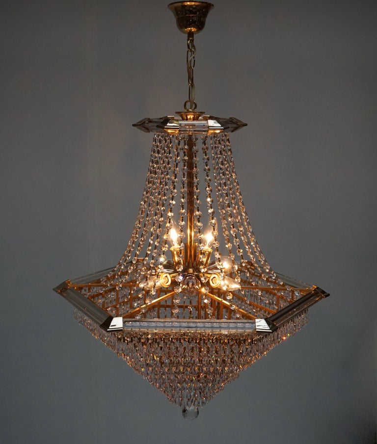 Two Bakalowits Chandeliers, Crystal Glass and Gilt Brass, Austria, 1960s For Sale 2