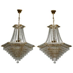 Two Bakalowits Chandeliers, Crystal Glass and Gilt Brass, Austria, 1960s