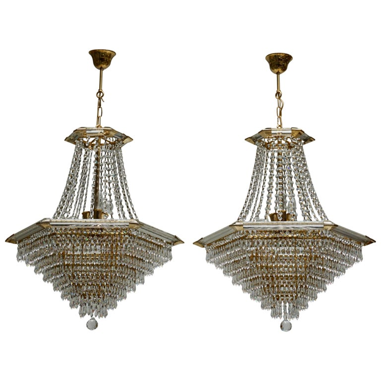 Two Bakalowits Chandeliers, Crystal Glass and Gilt Brass, Austria, 1960s For Sale