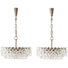 Two Bakalowits Chandeliers Pendant Lights, Nickel Glass, 1960s
