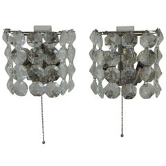 Two Bakalowits Wall Lamps Nickel-Plated, circa 1950s