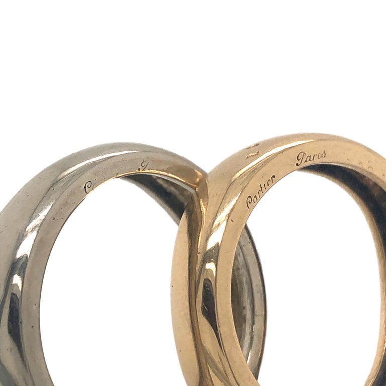 Modernist Cartier France 1981 Two Band and Two Gold Ring For Sale