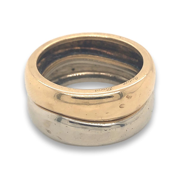 Women's or Men's Cartier France 1981 Two Band and Two Gold Ring For Sale