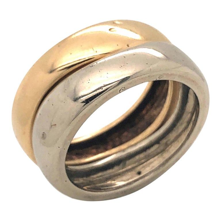 Cartier France 1981 Two Band and Two Gold Ring For Sale