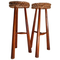 Two Bar Stools by Adrien Audoux & Frida Minet, France, 1950s