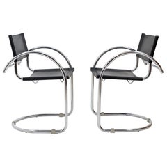 Two Bauhaus Armchairs in Black Leather and Chrome, 1960s