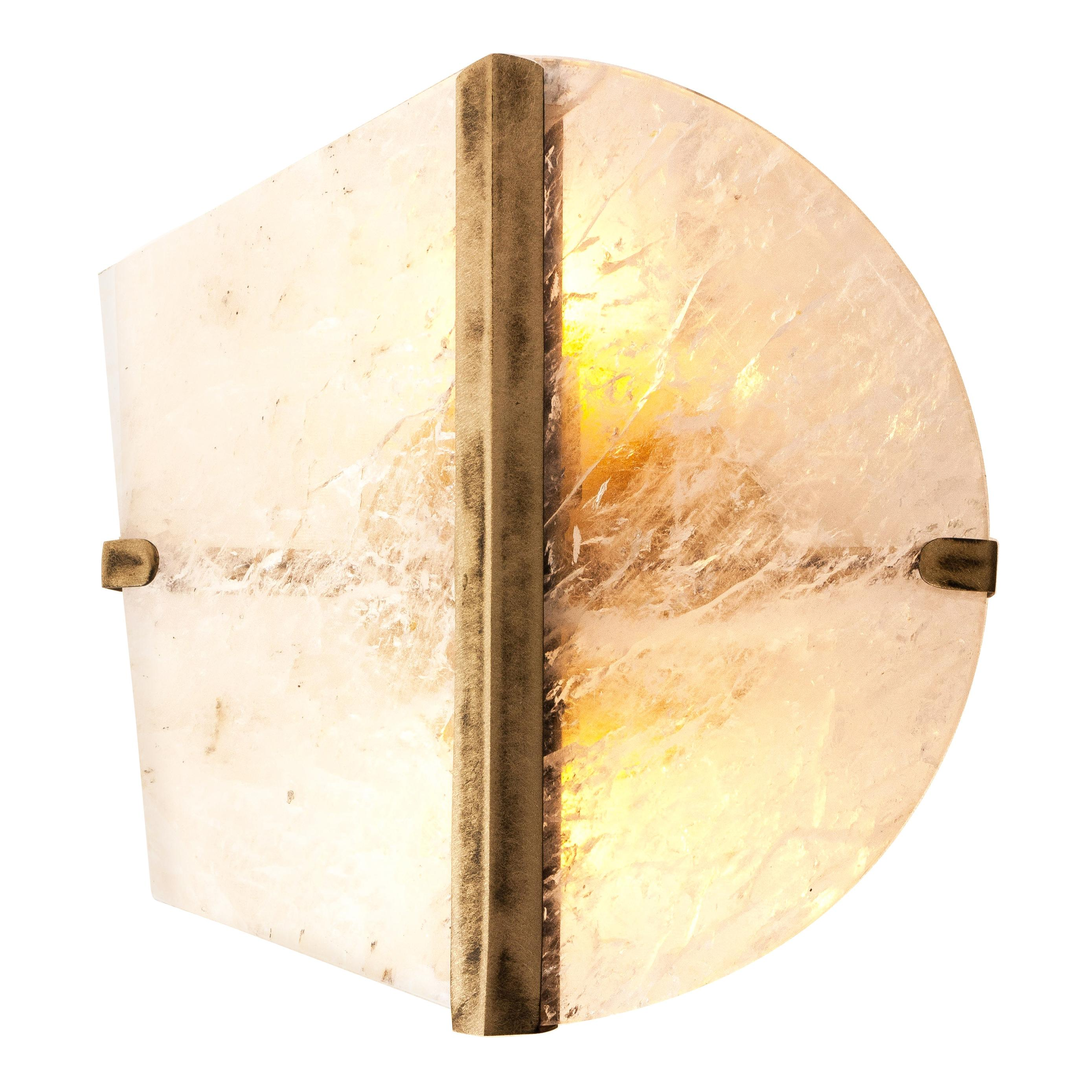 """""""Two-Be"""" Contemporary Wall Sconce, Rock Crystal, Cast melted Brass"""
