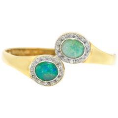 Two Beautiful Opal With Diamonds Bangle