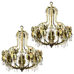 Two Beige-Green Painted Iron Chandeliers