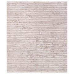 Two Beige - Plain Modern Hand Knotted Wool Tencel Allo Rug