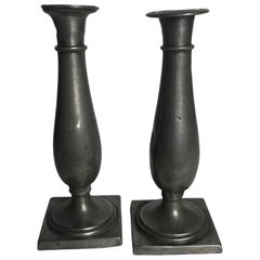 Two Biedermeier Pewter Candlesticks from 1820