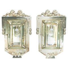 Two Big Jugendstil Wall Lamps with Cut Glass, Vienna, circa 1910s