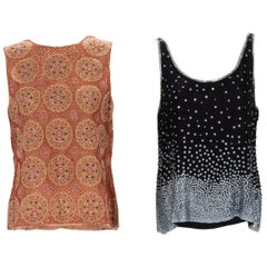 Two Bill Blass Couture Beaded Tops.  New Still Retaining Their Original Pricetag