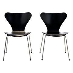 Two Black Arne Jacobsen Butterfly Chairs Model 3107