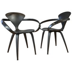 Two Black Cherner Armchairs Designed by Norman Cherner